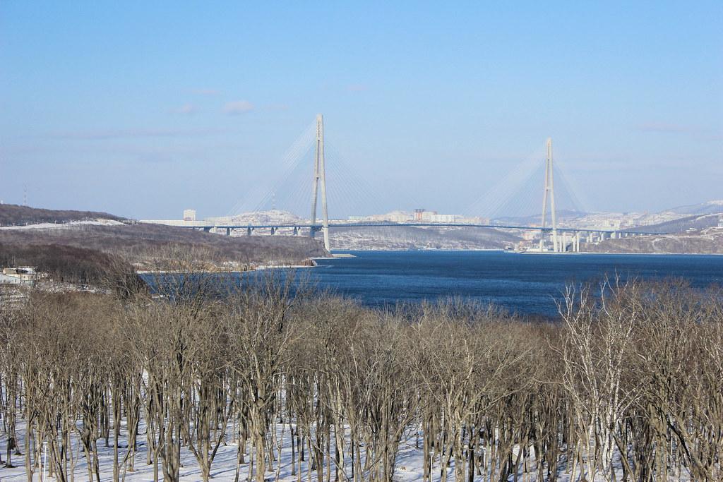 Die Russkij-Brücke verbindet die gleichnamige Insel mit dem Festland.