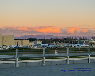 Sunset From the Future of Flight Strato Deck Hits 787s on the Boeing Factory Test Tarmac