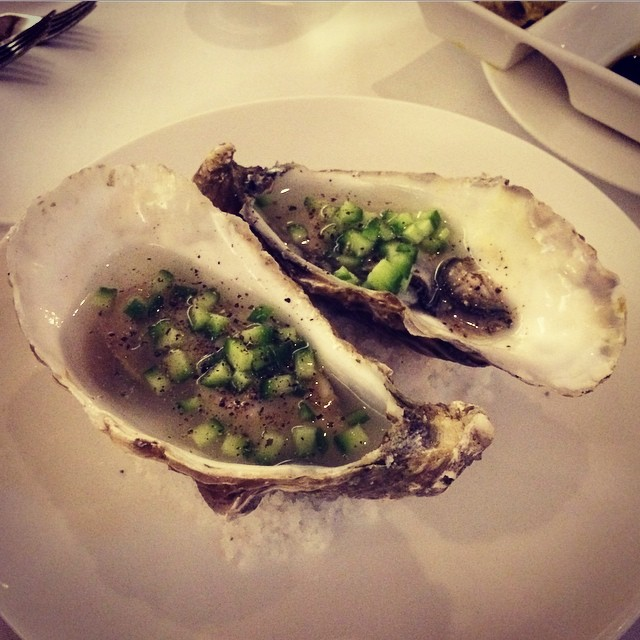 Fresh shucked oysters topped with Hendrick's gin and cucumber. The gin gives this a slightly bitter twist, and the chopped cucumber a crunchy texture to the tangy oyster. The oyster itself still have that light seawater aftertaste #valentines #spasso #lif