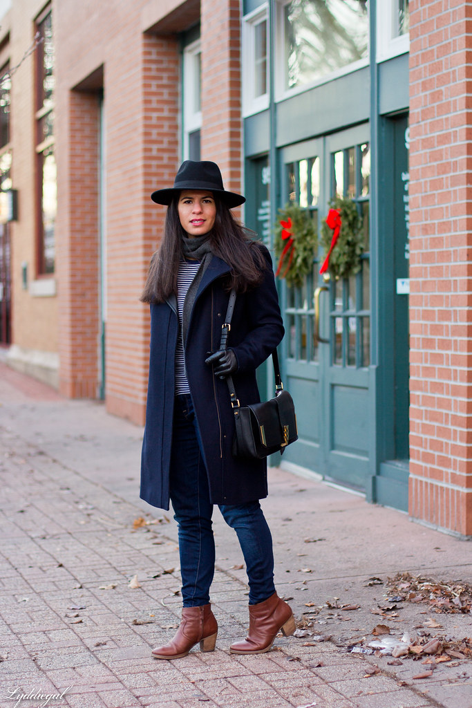 striped shirt, denim, wool fedora, navy coat.jpg