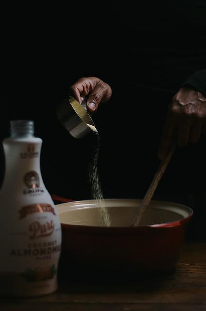 polenta coconut almond milk baked pudding with burnt sugar blood orange sauce   A Brown Table