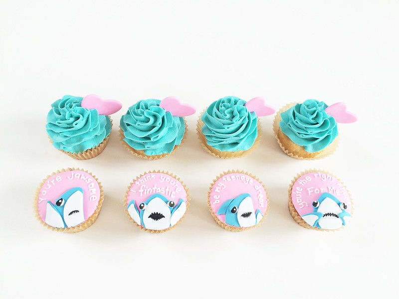 Left Shark Valentine's Day Cupcakes