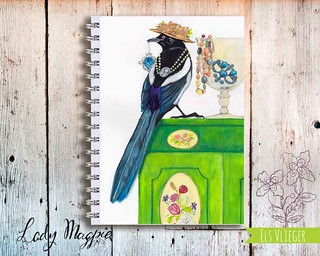 Lady Magpie journal cover design