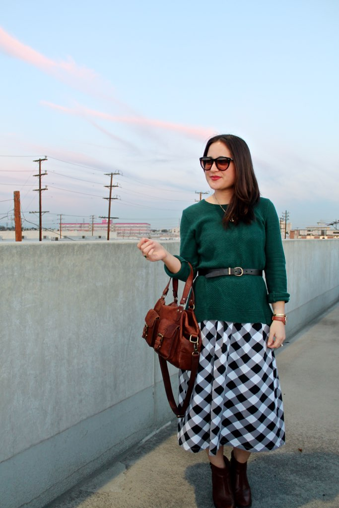 spring #outfit idea: belted green sweater and gingham dress