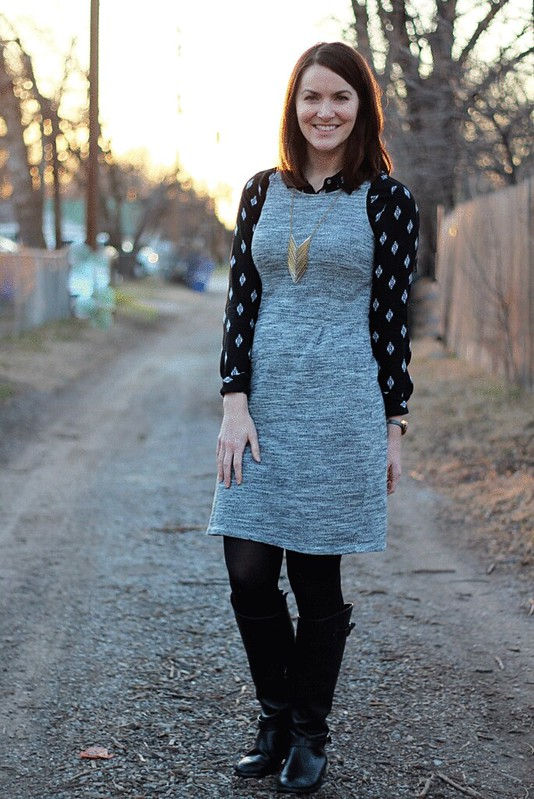 gray-dress-black-button-down-3