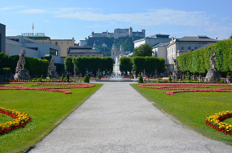 Hohensalzburg Fortress from Mirabell Gardens, Salzburg, Austria