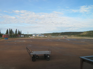 The tarmac of the Old Crow Airport, looking towards the west