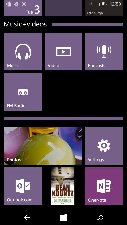 Start screen folders
