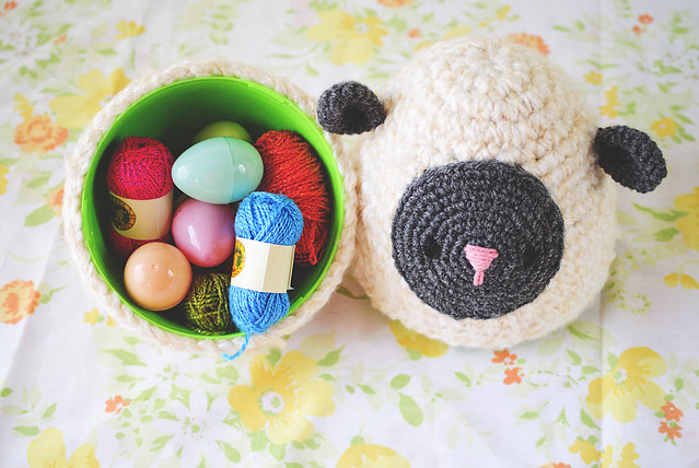 crochet lamb egg filled