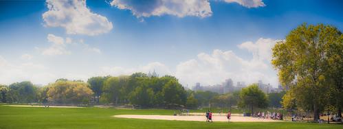 park nyc trees panorama newyork painterly field clouds baseball centralpark manhattan diamond softfocus