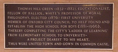 Photo of Thomas Hill Green black plaque