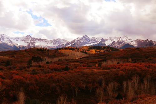 autumn mountains clouds rural colorado sanjuanmountains dallasdivide sneffelsrange