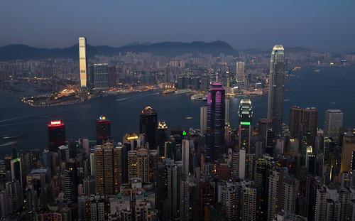 china city hk hongkong nikon view dusk wide nano 香港 icc hongkongisland victoriapeak peaktram d600 1635mm 2ifc 1ifc lugardroad kawloon 国際金融中心