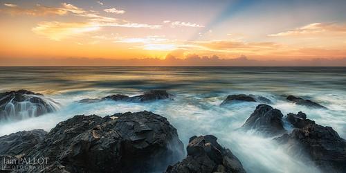 ocean longexposure sea seascape water sunrise rocks australia newsouthwales portmacquarie gc0315