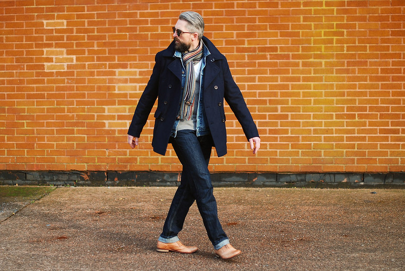 Menswear: Peacoat, Denim and Brogues.
