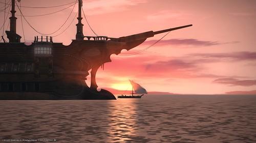 海と船と朝焼け