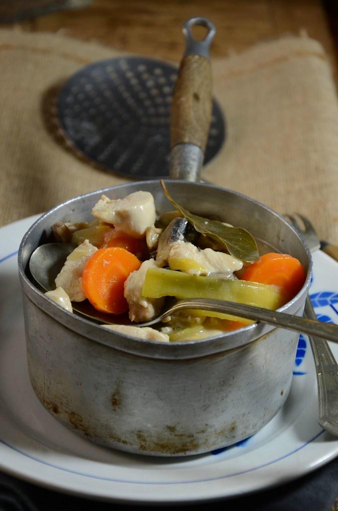 Blanquette de dinde, poireau et champignon