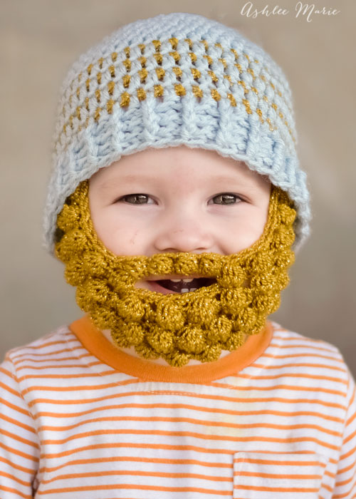 babies look sooo cute in bobble bearded beanies, free pattern