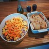 Soon-to-be-dinner tonight! Roasted root veg salad with sunflower seeds, and roasted chicken with ras el hanout seasonings. Yum. Oh, and just-made peanut butter cookies for dessert! #Slowfood #mysimplething #dinner