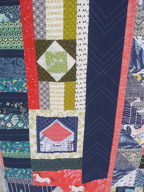 More blocks, love that little envelope.  And the chevron quilting.