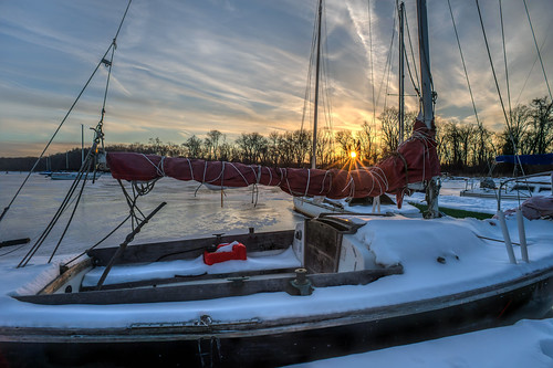 Just Another Winter Boat Sunset by Geoff Livingston