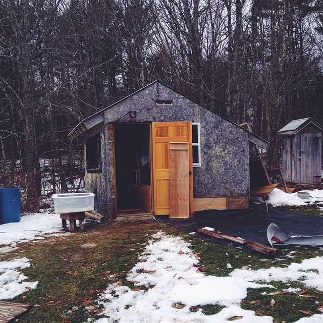 Alex has worked many hours to gut and rebuild the inside of the old chicken coop so that our 14 hens have safer and warmer digs for winter. Today is moving day. We'll rebuild the exterior in the spring.