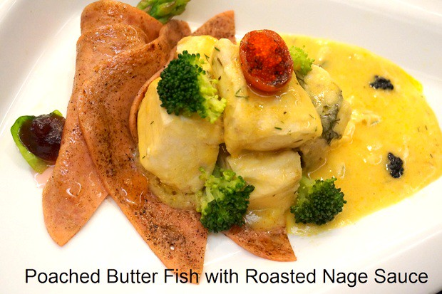 Poached Butter Fish with Roasted Nage Sauce