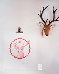 Deer, Nara - linocut