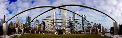 panorama chicago mobile skyline downtown millenniumpark iphone pritzkerpavilion mobilephotography iphoneography mobiography