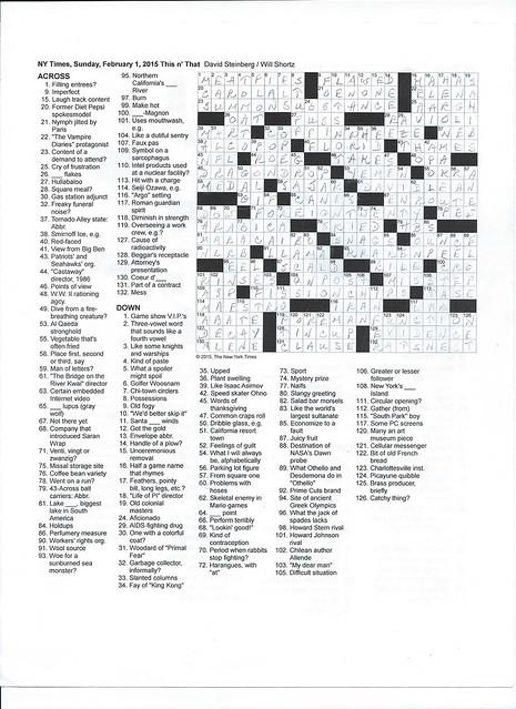 NYT Sunday Puzzle - February 8, 2015