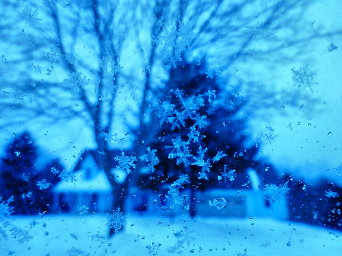 Snowflakes on the car window