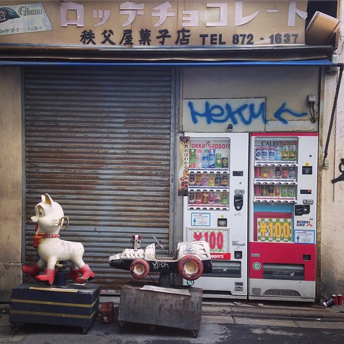 秩父屋菓子店。この遊具は、とっくにもう壊れてるようです。