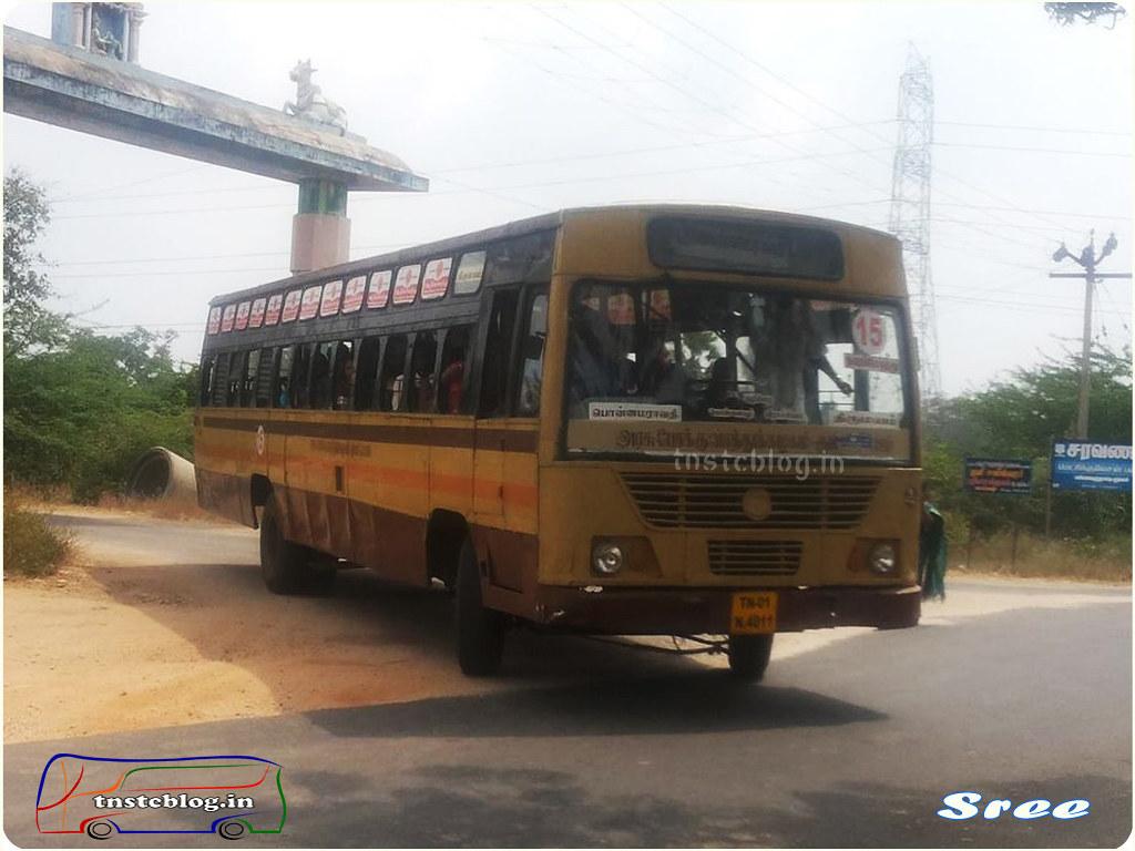 TN-01N-4011 of Ponamaravathi Depot Route 15 Ponamaraavathi - Thirumayam via Thonaiyur, Kulipirai, Viratchilai.