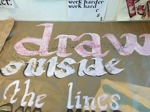 After training calligraphy on a small size it is time to make it big!