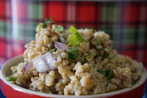 Steel-cut oat salad with walnuts and raisins, close-up shot