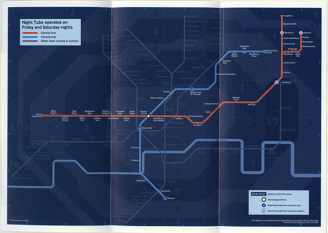 August 2016 Night Tube Underground leaflet map