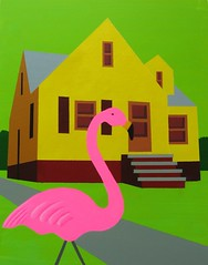 suburban house with flamingo: diane pribojan
