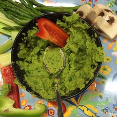 Stop and go. Red capsicum in green dip.  #food #re…
