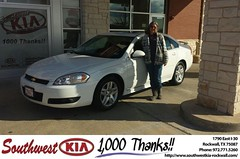 #HappyAnniversary to Jim Wilkins on your 2011 #Chevrolet #Impala from Mauricio Pena at Southwest KIA Rockwall!
