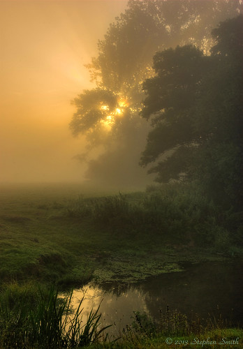 uk autumn trees england mist colour green ford nature water misty sunrise reflections landscape gold dawn countryside nikon scenery northamptonshire earlymorning september fields newton tonemapped 2013 d80 geddington riverise