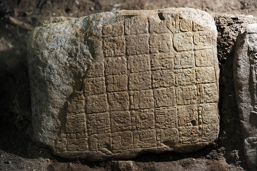 So if the Maya did not believe 2012 was the end of the world, as Stuart has previously argued, why this new reference to it? It's complicated, but in a word, hyperbole. Think of the hieroglyphic on which it was found like a plaque commemorating the visit of a great king. That king was Yuknoom Yich'aak K'ahk', who visited in 696 A.D. (© Proyecto La Corona)