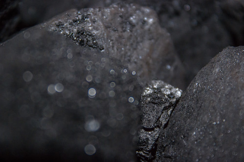 Macro photos of coal from the coal shed been collected to feed the fire and keep out winter.