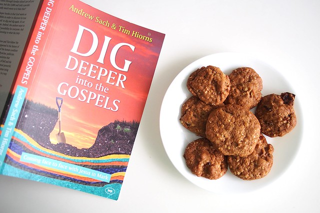 """Dig Deeper into the Gospels"" posing with bak kwa biscuits (or candied bacon cookies)"