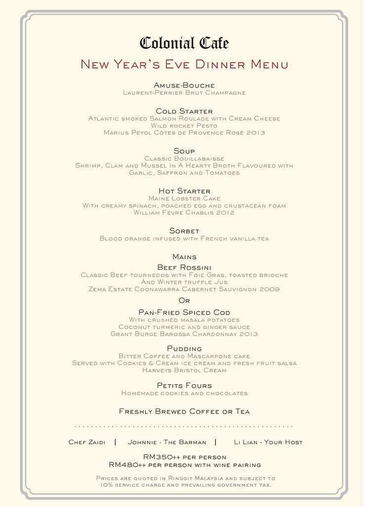 Majestic KL - New Year dinner menu