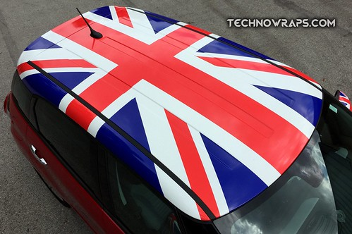 Union Jack British flag car roof graphic wrap