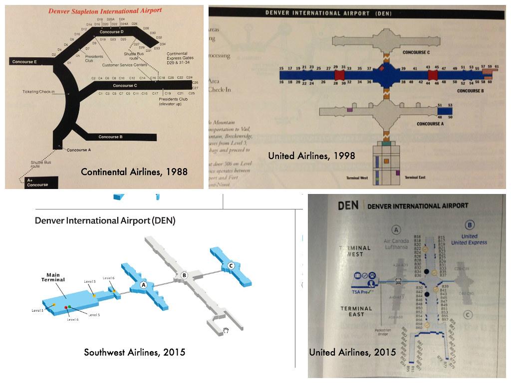 Denver Airport Terminal Maps 1988 2015 Four Airline Termi Flickr