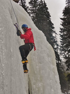 Steven Ice Climbing at Hidden Falls