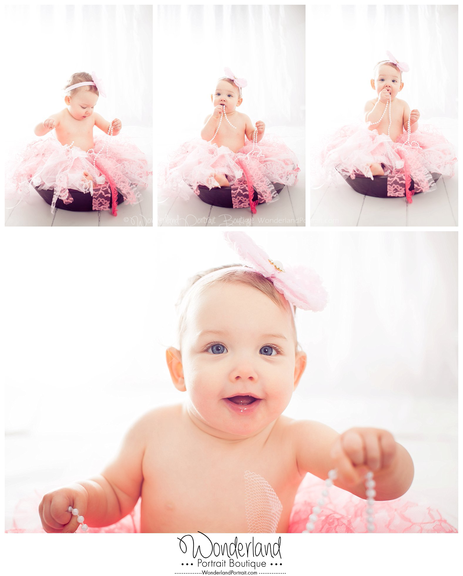 Baby in bowl Pink Tutu Lace Tutu Bucks County PA WonderlandPortrait.com