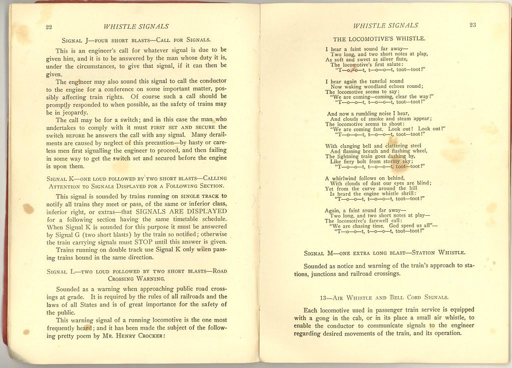 Railway Whistle Signals 1913 | Railway Educational Associati