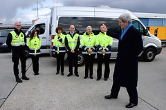 U.S. Secretary of State John Kerry thanks a group of protocol officials from Geneva International Airport as he departs Geneva, Switzerland, on March 4, 2015, following his latest round of negotiations with Iranian officials about the future of their nuclear program. [State Department photo/ Public Domain]